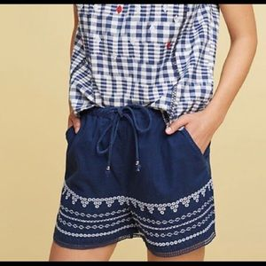 Anthropologie blue cotton embroidered shorts S NWT